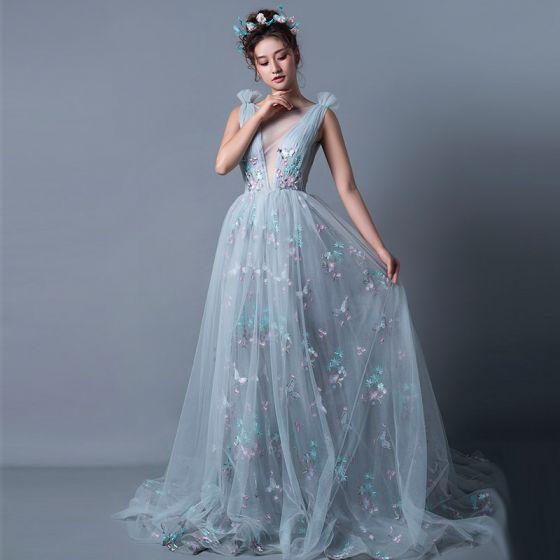 Seksowne Szary Sukienki Wieczorowe 2019 Princessa Przezroczyste Wycięciem Bez Rękawów Motyl Aplikacje Z Koronki Trenem Sąd Wzburzyć Bez Pleców Sukienki Wizytowe