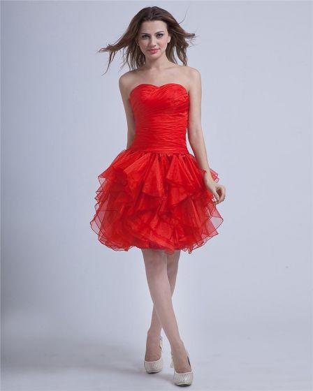 Schede Sweetheart Knielange Lace-up Garen Rode Feestjurken