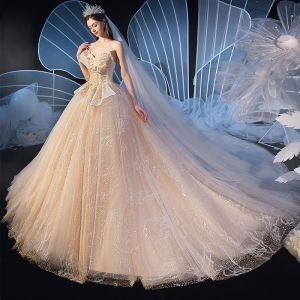 Chic / Beautiful Champagne Wedding Dresses 2020 Ball Gown Sweetheart Backless Sleeveless Beading Glitter Tulle Cathedral Train Ruffle