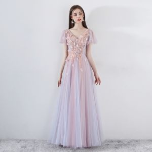 Romantic Pearl Pink Prom Dresses 2019 A-Line / Princess V-Neck Short Sleeve Appliques Lace Beading Floor-Length / Long Ruffle Backless Formal Dresses