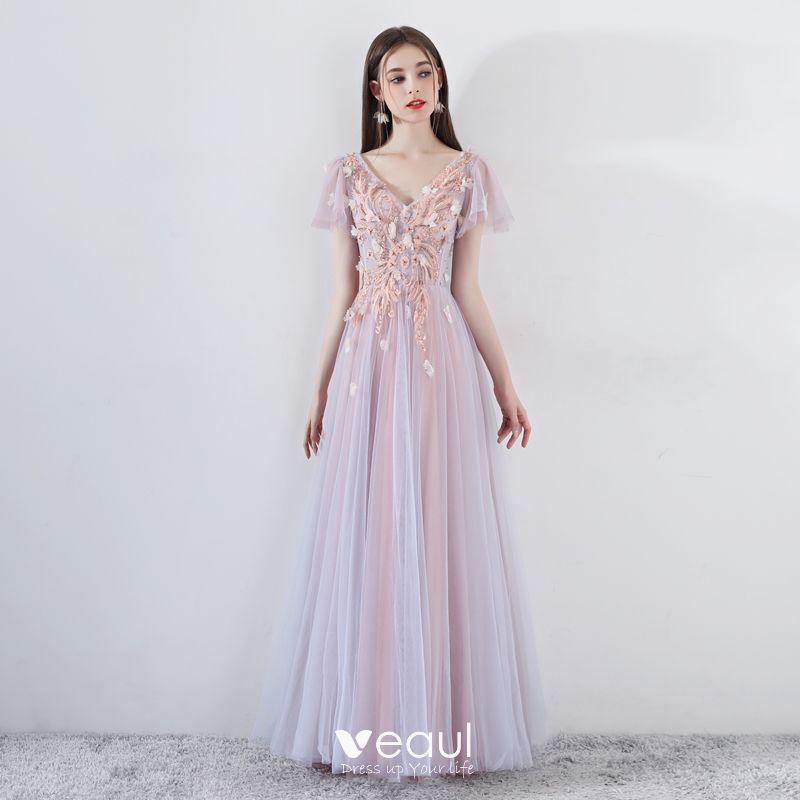 826d828f88 Romantic Pearl Pink Prom Dresses 2019 A-Line / Princess V-Neck Short ...