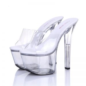 Amazing / Unique 2017 White Casual PU Fall High Heels Stiletto Heels 15 cm / 6 inch Open / Peep Toe Pumps