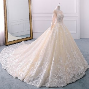 Elegant Champagne Wedding Dresses 2018 Ball Gown Lace Flower See-through Beading Sequins Scoop Neck Long Sleeve Royal Train Wedding
