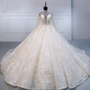 High-end Champagne Handmade  Beading Wedding Dresses 2020 Ball Gown High Neck Rhinestone Lace Flower Long Sleeve Backless Royal Train