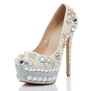 Charming Ivory Wedding Shoes 2020 Leather Pearl Crystal Rhinestone 15 cm Stiletto Heels Round Toe Wedding Pumps