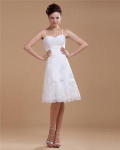 Satin Spitze Mit Perlen Spaghetti-trägern Kurz Brautkleider Hochzeitskleid