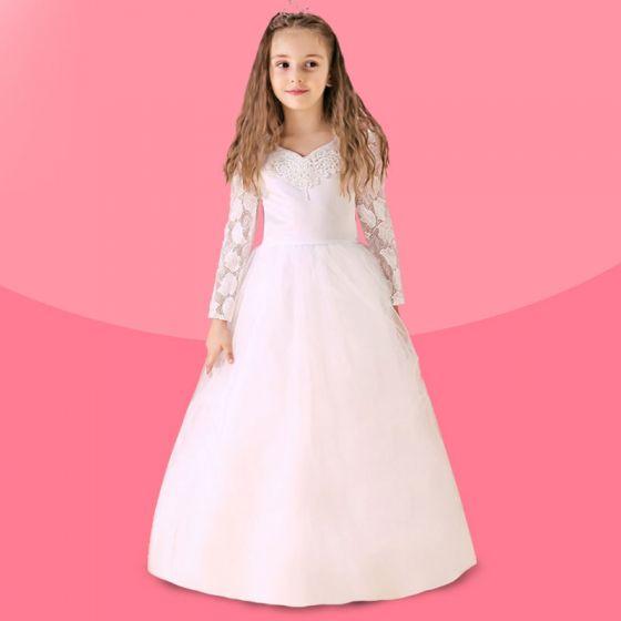 White Flower Girl Dress Long Trailing Princess Dress