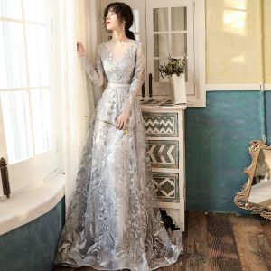 Elegant Grey See-through Evening Dresses  2020 A-Line / Princess Scoop Neck Long Sleeve Appliques Lace Sweep Train Ruffle Formal Dresses