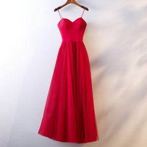 Proste / Simple Czerwone Sukienki Wieczorowe 2019 Princessa Spaghetti Pasy Bez Rękawów Bez Pleców Długie Sukienki Wizytowe