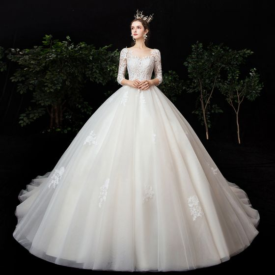 High-end Champagne See-through Wedding Dresses 2020 Ball Gown Square Neckline 3/4 Sleeve Backless Pierced Appliques Lace Chapel Train Ruffle
