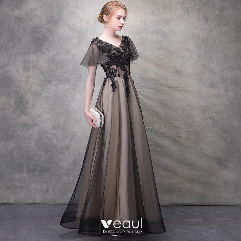 V-NECK BACKLESS BLACK LACE STUNNING DRESS