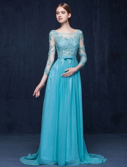 2016 Elegant Square Neckline Backless Applique Lace Chiffon Evening Dress With Sash