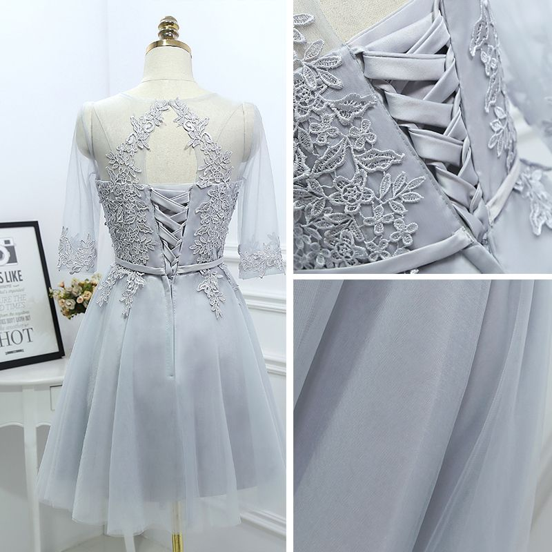 Modest / Simple Grey Bridesmaid Dresses 2017 A-Line / Princess Lace Flower Scoop Neck 3/4 Sleeve Short Wedding Party Dresses