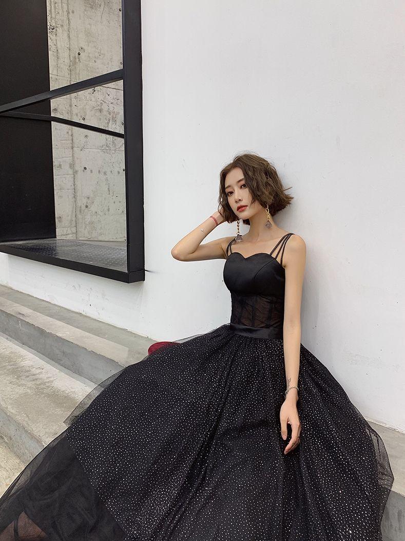 Moderne / Mode Noire Robe De Soirée 2019 Princesse Bretelles Spaghetti Ceinture Paillettes Sans Manches Dos Nu Longue Robe De Ceremonie