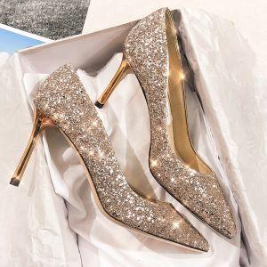 Scintillantes Doré Cuir Chaussure De Mariée 2020 Paillettes 9 cm Talons Aiguilles À Bout Pointu Escarpins