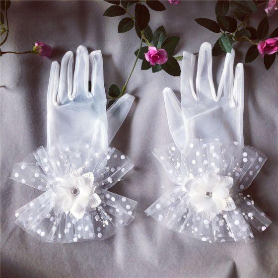 Piękne Białe Rękawiczki Ślubne 2020 Aplikacje Frezowanie Perła Rhinestone Tiulowe Bal Ślub Akcesoria