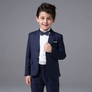 Modern Donkerblauwe Lange Mouwen Boys Wedding Suits 2017