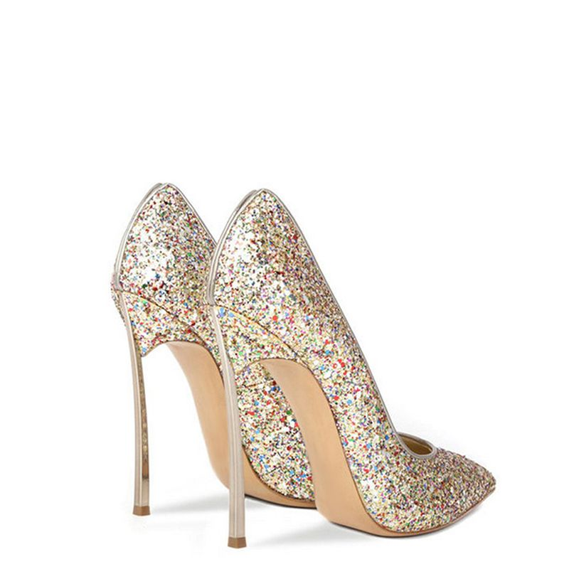 Sparkly Gold Wedding Shoes 2019 Sequins 12 cm Stiletto Heels Pointed Toe Wedding Pumps