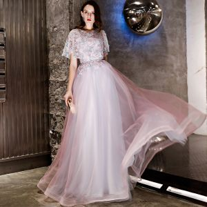 Chic / Beautiful Blushing Pink Evening Dresses  2019 A-Line / Princess Appliques Lace Scoop Neck Short Sleeve Floor-Length / Long Formal Dresses