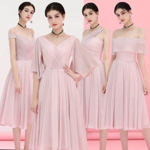 Abordable Rougissant Rose Chiffon Robe Demoiselle D'honneur 2018 Princesse Thé Longueur Volants Dos Nu Robe Pour Mariage