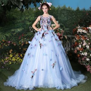 Flower Fairy Sky Blue Ball Gown Prom Dresses 2017 U-Neck Tulle Appliques Backless Beading Prom Formal Dresses
