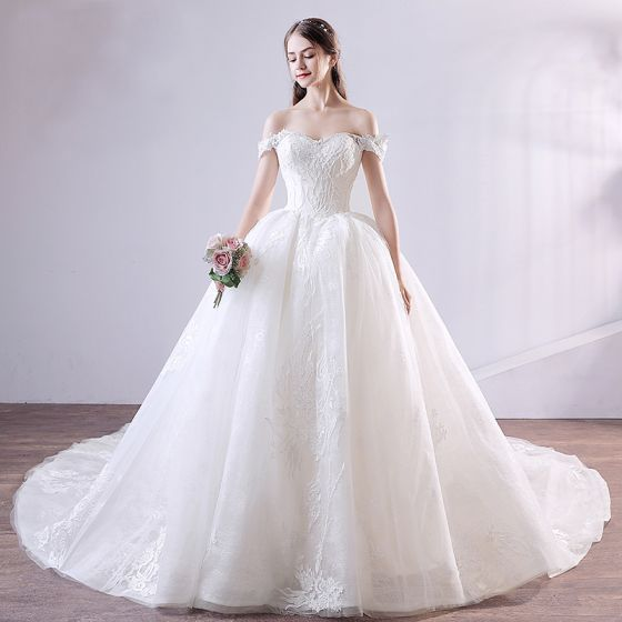Elegant Ivory Wedding Dresses 2018 Ball Gown Beading Lace Sequins Off-The-Shoulder Backless Sleeveless Cathedral Train Wedding