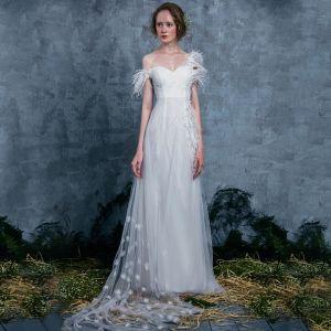 Modern / Fashion Ivory Summer Wedding Dresses 2018 Empire One-Shoulder Short Sleeve Backless Appliques Flower Feather Ruffle Watteau Train