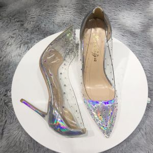 Charming Transparent Silver Cocktail Party Laser Pumps 2020 Rhinestone 10 cm Stiletto Heels Pointed Toe Pumps