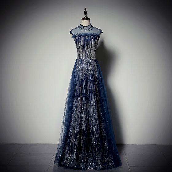 Błyszczące Granatowe Cekiny Sukienki Wieczorowe 2020 Princessa Wysokiej Szyi Rhinestone Bez Rękawów Bez Pleców Długie Sukienki Wizytowe