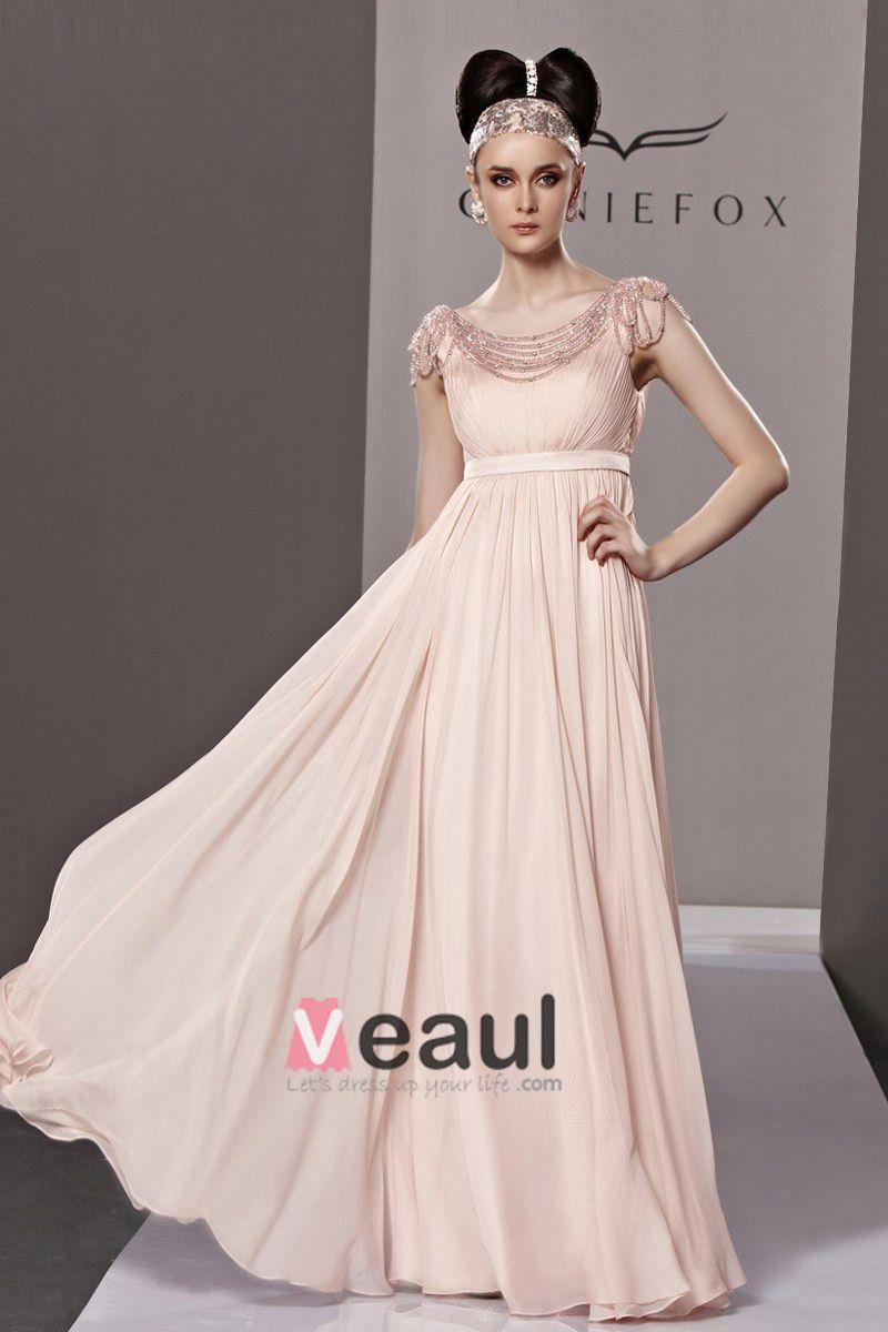 Elegant Bateau Floor Length Beading Ruffles Tencel Charmeuse Evening Dress