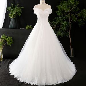 Chic / Beautiful Ivory Plus Size Wedding Dresses 2020 V-Neck Solid Color A-Line / Princess Beading Appliques Backless Pearl Sequins Cathedral Train Wedding