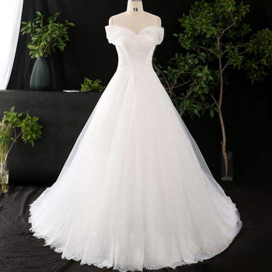 Chic Beautiful Ivory Plus Size Wedding Dresses 2020 V Neck Solid Color A Line Princess Beading