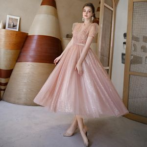 Vintage / Retro Blushing Pink See-through Dancing Prom Dresses 2020 A-Line / Princess High Neck Puffy Short Sleeve Sequins Tulle Beading Pearl Sash Tea-length Ruffle Backless Formal Dresses