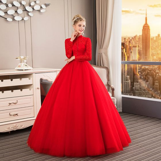 Chinese Style Muslim Red Wedding Dresses 2019 Ball Gown High Neck Buttons Bow Lace Flower Sequins