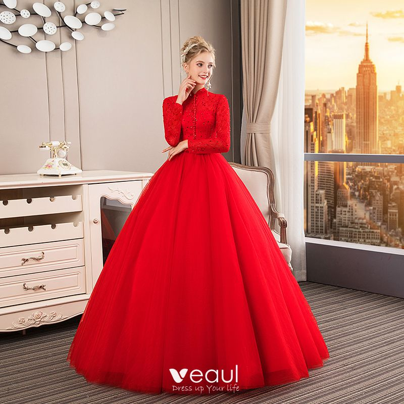 6ba5d6a34c Chinese style Muslim Red Wedding Dresses 2019 Ball Gown High Neck ...