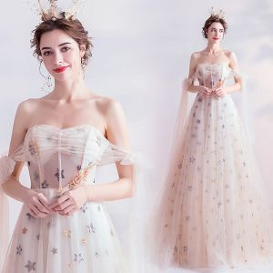 Fashion White Prom Dresses 2020 A-Line / Princess Off-The-Shoulder Beading Pearl Star Sequins Sleeveless Backless Chapel Train Formal Dresses