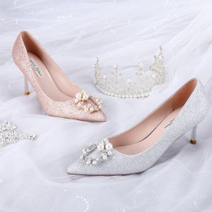 Fashion Glitter Silver Wedding Shoes 2020 Sequins Pearl Rhinestone 8 cm Stiletto Heels Pointed Toe Wedding Pumps