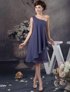 Bezaubern Von Einer Schulter Rüschen Kurzen Cocktailkleid Einfache Partykleid