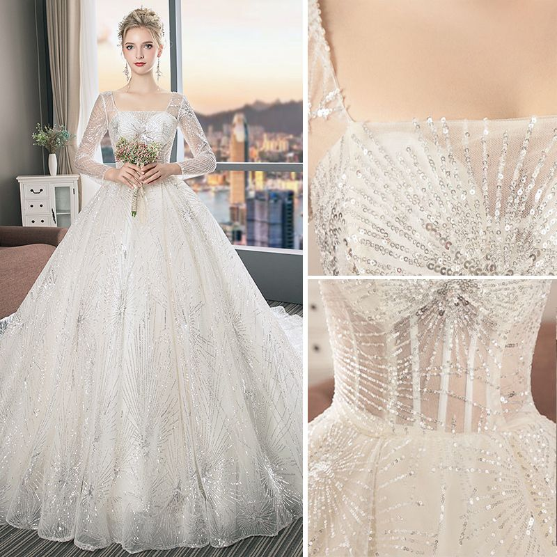 Chic / Beautiful Champagne Wedding Dresses 2019 A-Line / Princess Square Neckline Sequins Long Sleeve Backless Cathedral Train