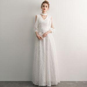 Elegant Ivory Evening Dresses  2019 A-Line / Princess Scoop Neck Tassel 3/4 Sleeve Floor-Length / Long Formal Dresses