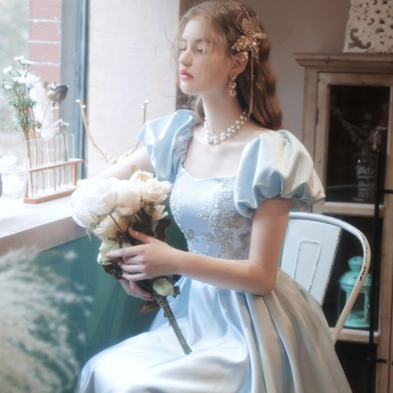 Elegant Sky Blue Satin Homecoming Graduation Dresses Prom Dresses 2021 A-Line / Princess Square Neckline Glitter Sequins Embroidered Short Sleeve Backless Floor-Length / Long Formal Dresses