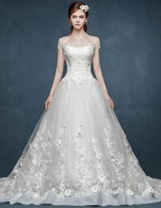 2015 Word Shoulder Lace Long Trailing Romantic Wedding Dress The Bride Gorn