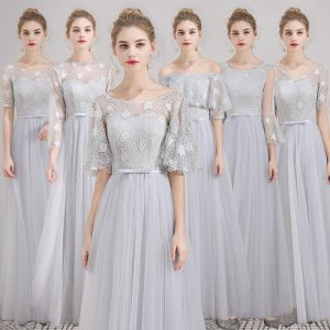 Affordable Grey Lace Bridesmaid Dresses 2019 A-Line / Princess Bow Sash Floor-Length / Long Ruffle Backless Wedding Party Dresses