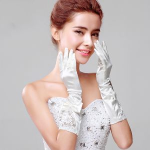 2015 Short Lace Tulle Butterfly Fingerless Bridal Gloves