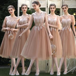 Affordable Brown Bridesmaid Dresses 2020 A-Line / Princess Backless Appliques Lace Tea-length Ruffle
