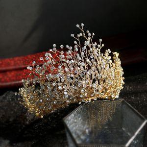 Fabelagtig Guld Hårpynt 2019 Legering Rhinestone Tiara Bryllup Accessories