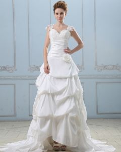 Applique Handmade Flower Sweetheart Lace Shoulder Taffeta Ball Gown Wedding Dress