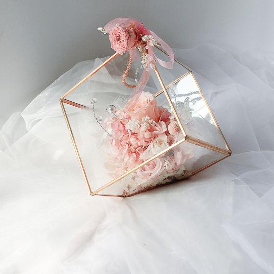 Romántico Hada de las flores Rosa Clara Ramos de novia 2020 Hecho a mano Tul Metal Rebordear Crystal Flor Perla Boda Boda Gala Accesorios