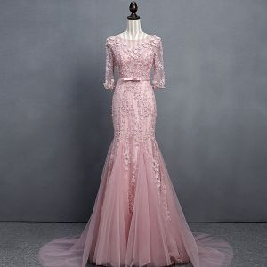 Stunning Blushing Pink Evening Dresses  2018 Trumpet / Mermaid Scoop Neck 1/2 Sleeves Appliques Flower Sequins Beading Bow Sash Court Train Ruffle Backless Formal Dresses