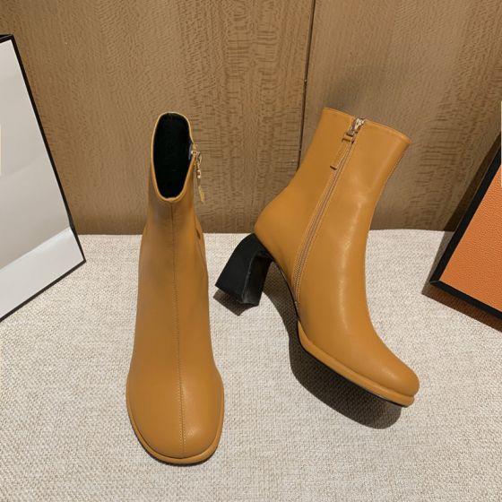 Eenvoudige Vallen Bruin Straatkleding Dames Laarzen 2021 Enkellaarsjes / Enkellaarzen 7 cm Dikke Hak Ronde Neus Laarzen